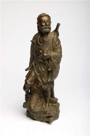 Chinese Bronze Figure Sculpture Deity Standing Dragon