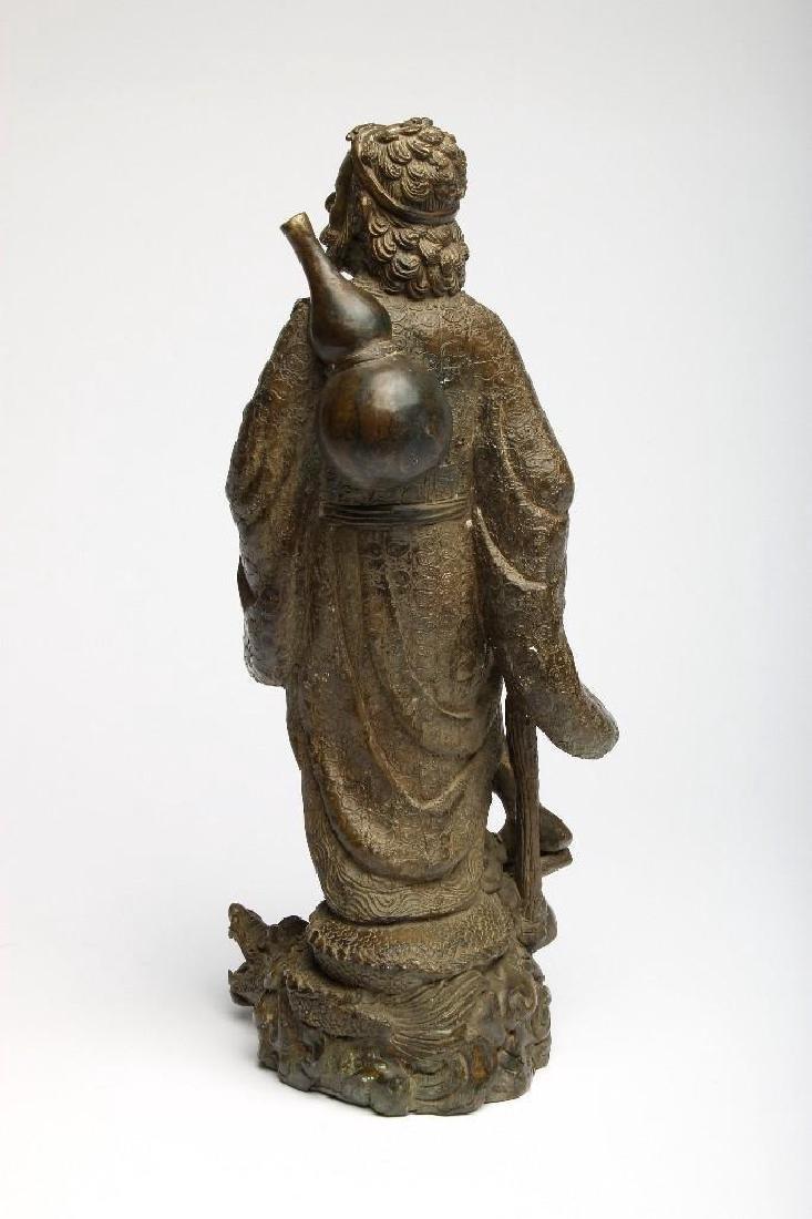 Chinese Bronze Figure Sculpture Deity Standing Dragon - 2