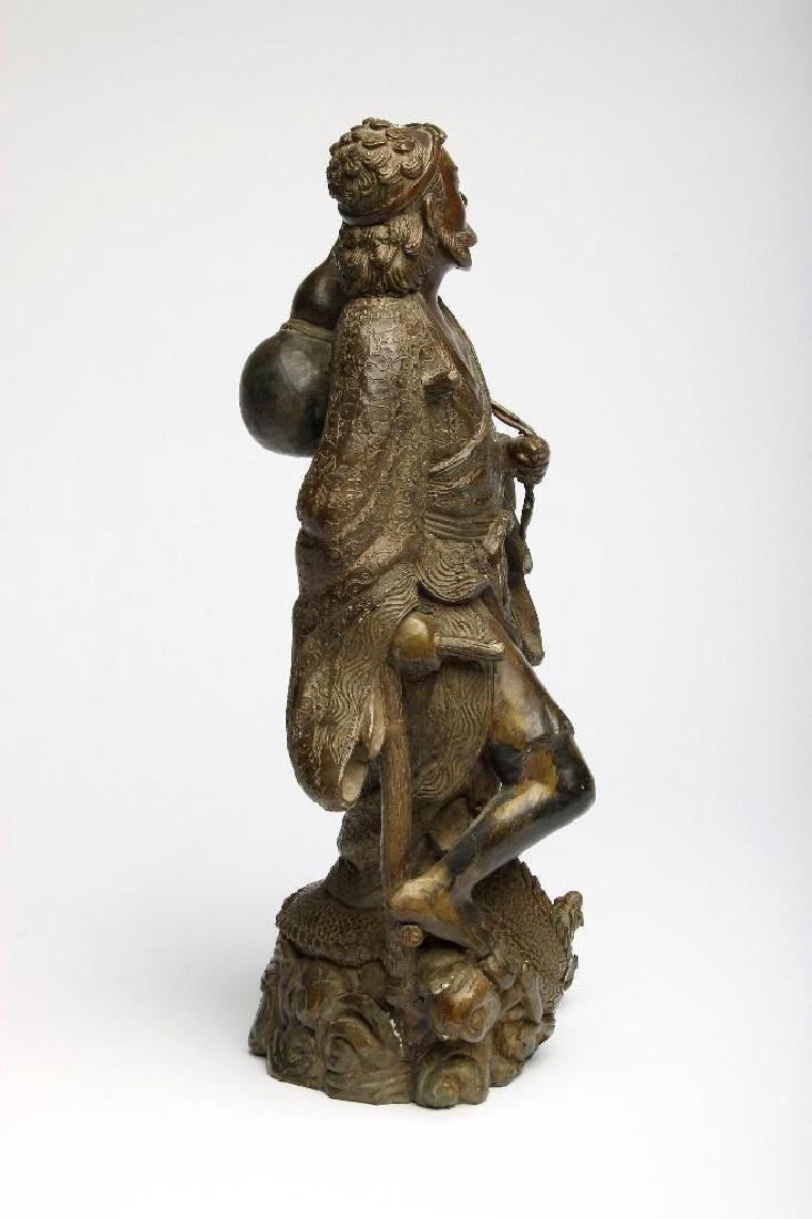 Chinese Bronze Figure Sculpture Deity Standing Dragon - 3