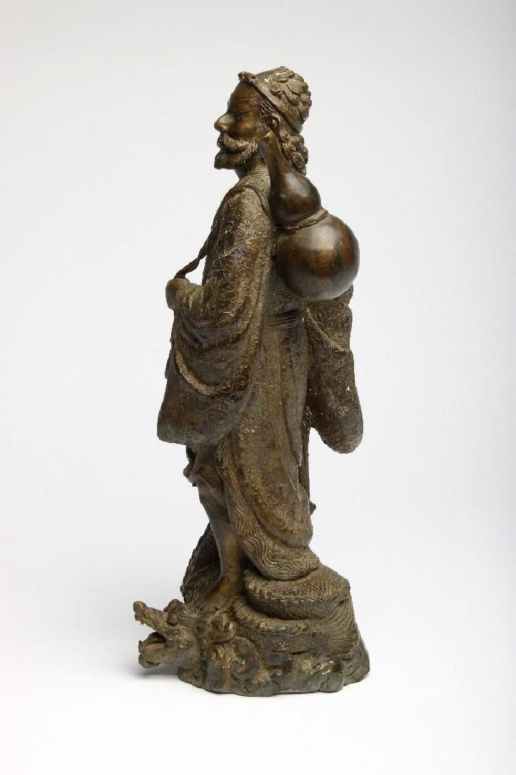 Chinese Bronze Figure Sculpture Deity Standing Dragon - 4
