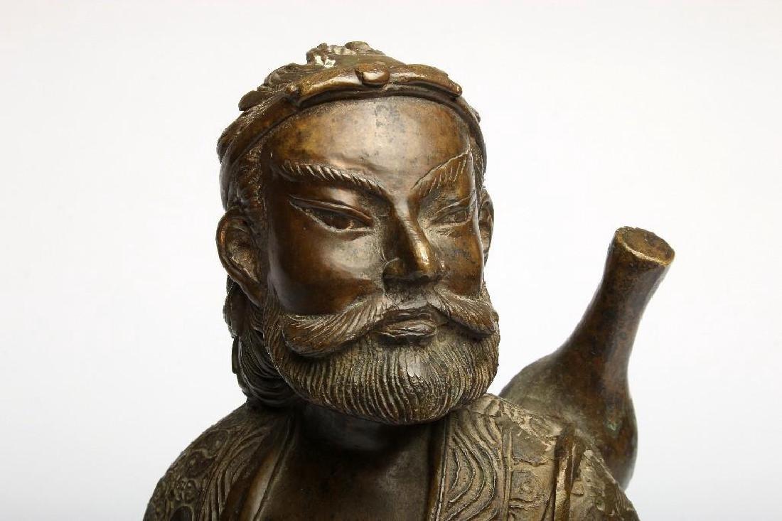 Chinese Bronze Figure Sculpture Deity Standing Dragon - 5
