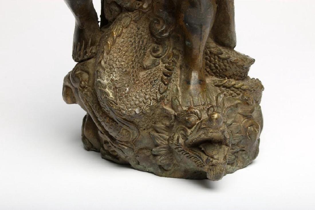 Chinese Bronze Figure Sculpture Deity Standing Dragon - 6