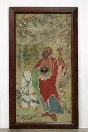 Antique Chinese Silk Painting Qing Daruma Bodhidharma
