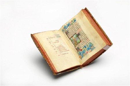 Antique Handwritten Latin Illuminated Holy Book Hours