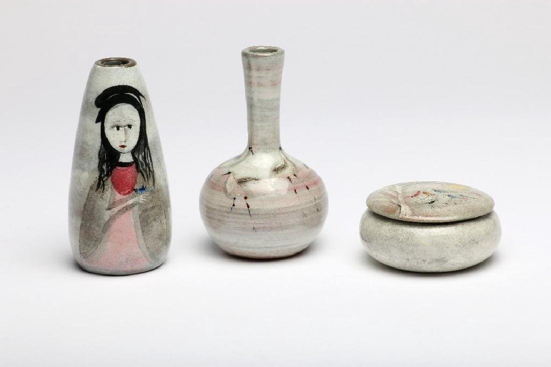 3 Polia Pillin MCM Pottery Hand Painted Woman Birds