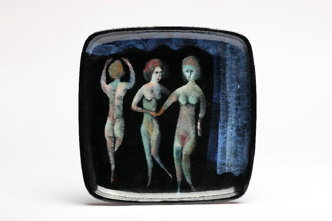 Polia Pillin MCM Art Pottery Hand Painted Plate Nudes
