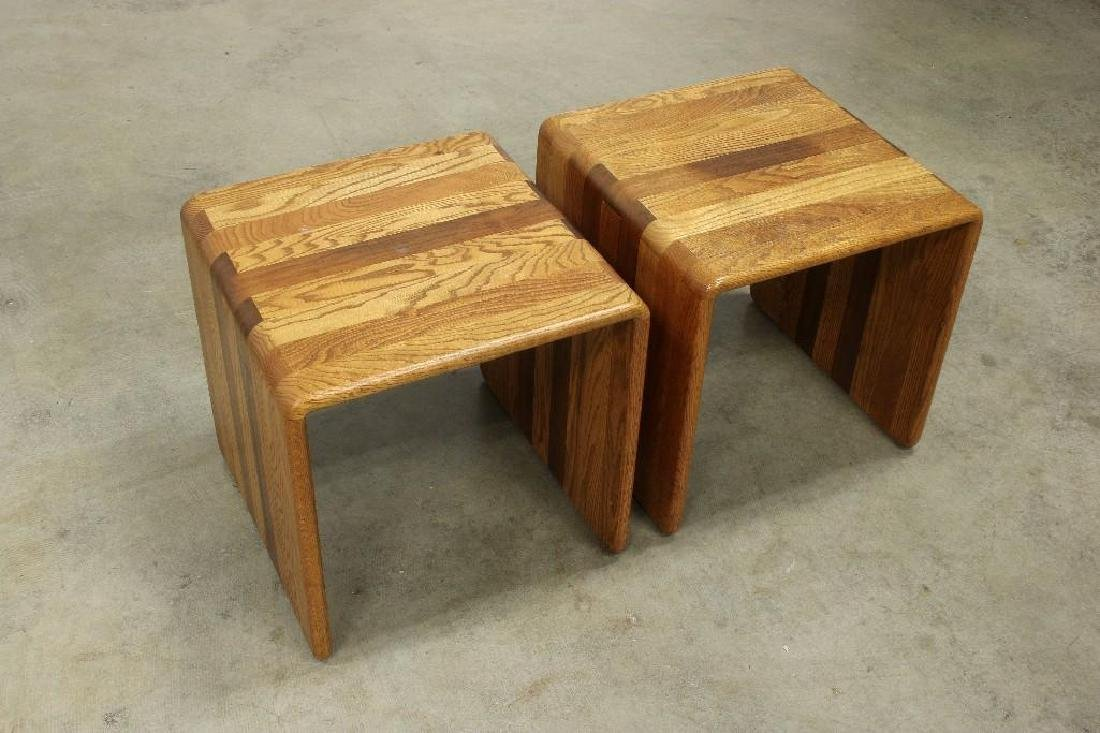 Pair James Rannefeld Jawar Laminate Wood Ribbon Tables