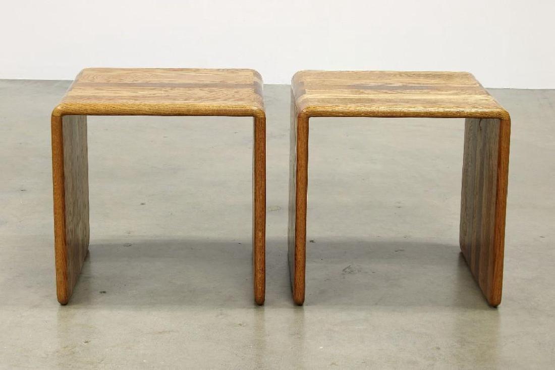 Pair James Rannefeld Jawar Laminate Wood Ribbon Tables - 2