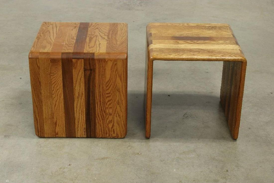 Pair James Rannefeld Jawar Laminate Wood Ribbon Tables - 3