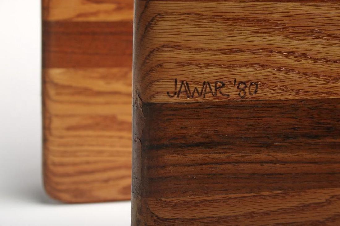 Pair James Rannefeld Jawar Laminate Wood Ribbon Tables - 4
