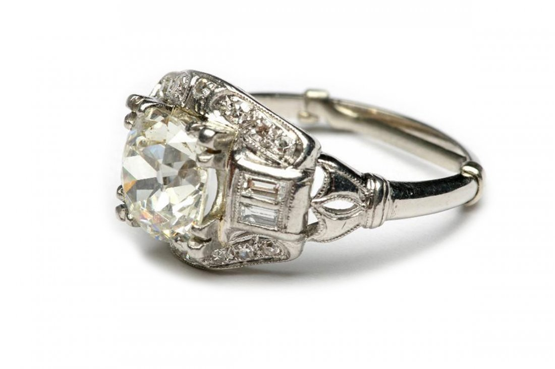 Platinum Cushion Cut Diamond 2.4 cts Ring