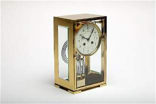 Tiffany Co Japy Freres Four Glass Brass Mantel Clock