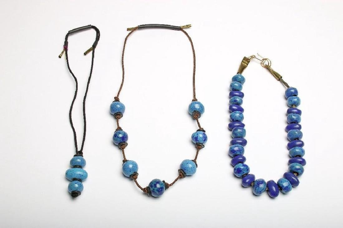 Doyle Lane Ceramic Handmade Beaded Necklace Blue Group