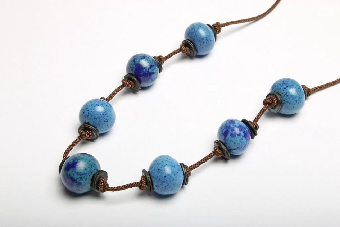 Doyle Lane Ceramic Handmade Beaded Necklace Blue Group - 3