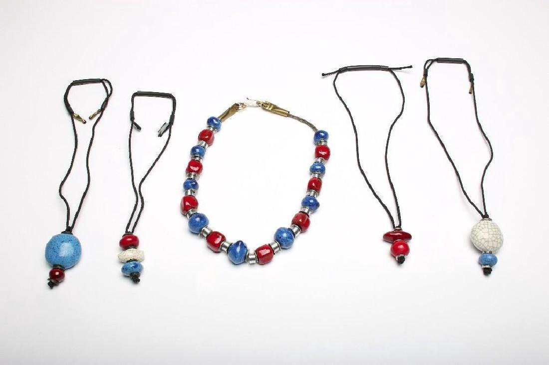 Doyle Lane MCM Handmade Bead Necklaces Blue Red White