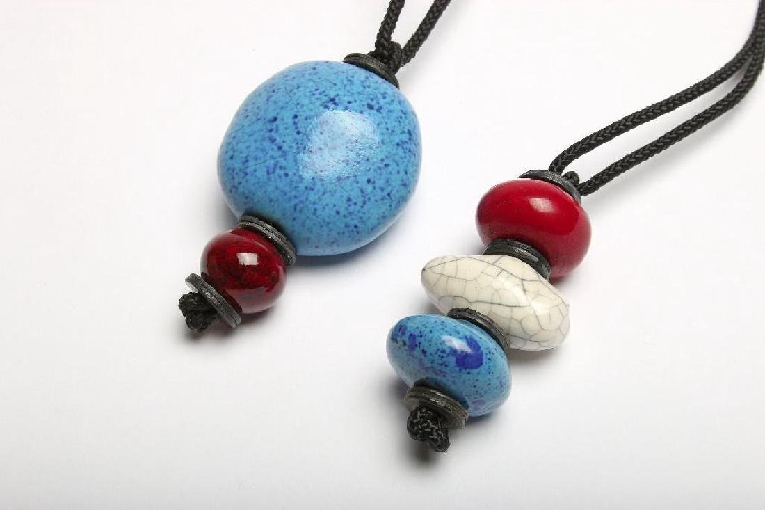 Doyle Lane MCM Handmade Bead Necklaces Blue Red White - 2
