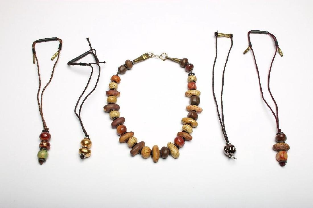 Doyle Lane Ceramic Handmade Bead Necklace Matte Browns