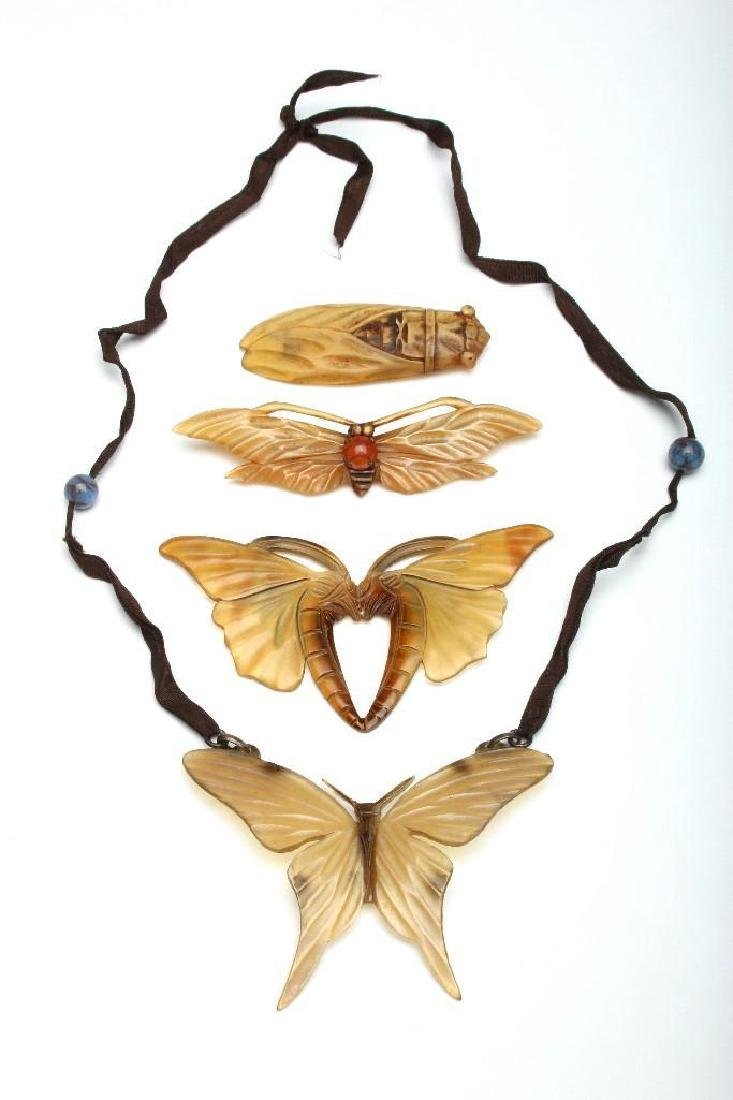 Group Art Nouveau Carved Horn Jewelry Necklace + Pins