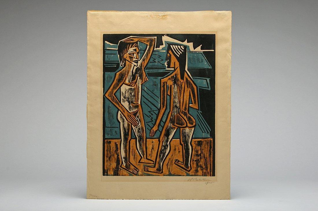Hermann Max Pechstein Zwiesprache 1920 Color Woodcut