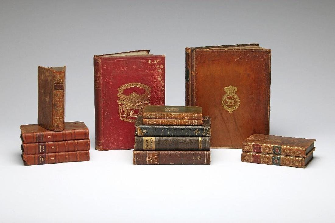 Antique Book Lot Fine Leather Binding Poetry Fables