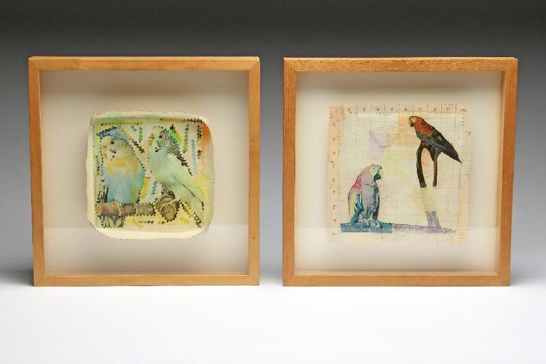 Joseph Zucker Pair Mixed Media Collage Watercolor Birds