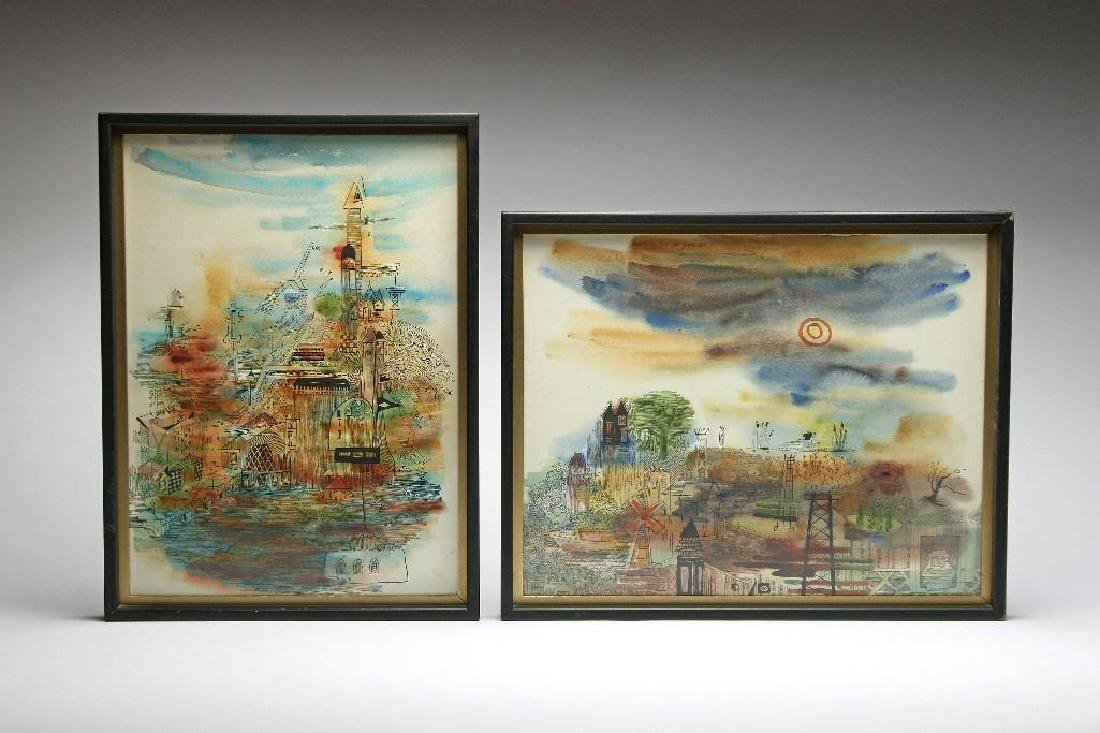 2 Mid Century Cityscape Ink and Watercolor Signed
