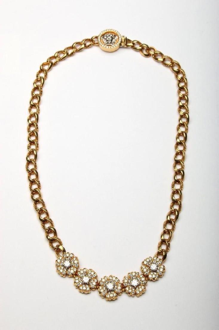 Gianni Versace 18K Gold Diamond Flower Medusa Necklace
