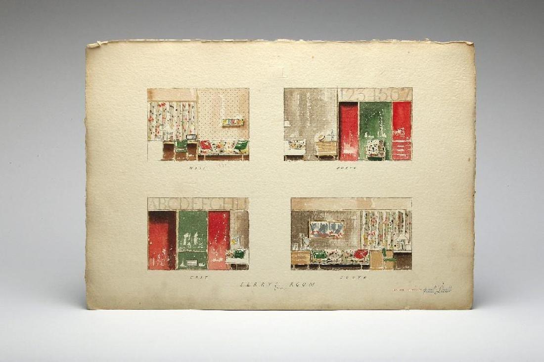 Paul Laszlo Original Watercolor Rendering Residence