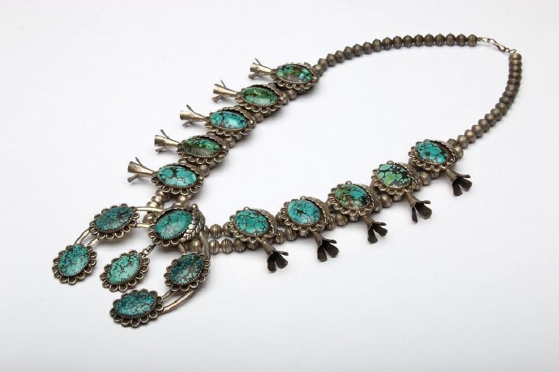 Navajo Sterling Silver Turquoise Squash Blossom