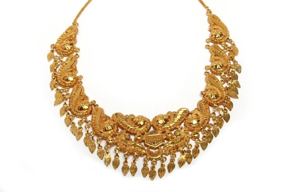 High Karat 22k Gold Eastern Statement Fringe Necklace
