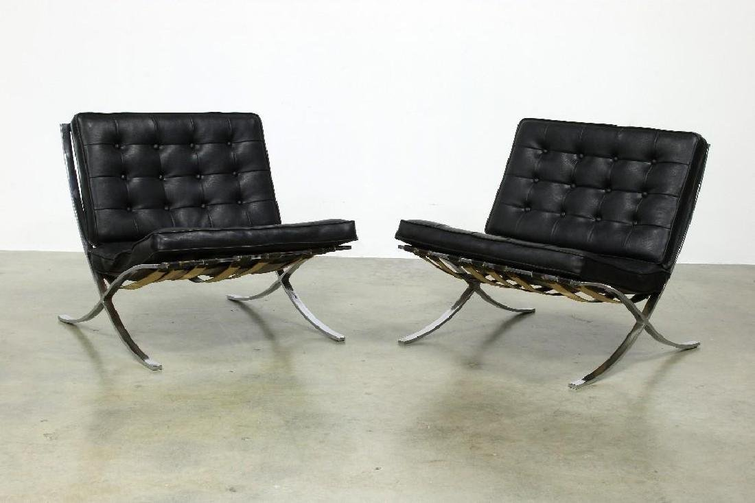 Pair Mies Van Der Rohe Barcelona Style Chairs