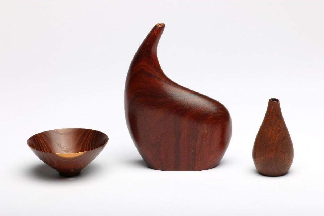 3 Contemporary Artisan Woodworking Turned Vase Bowl