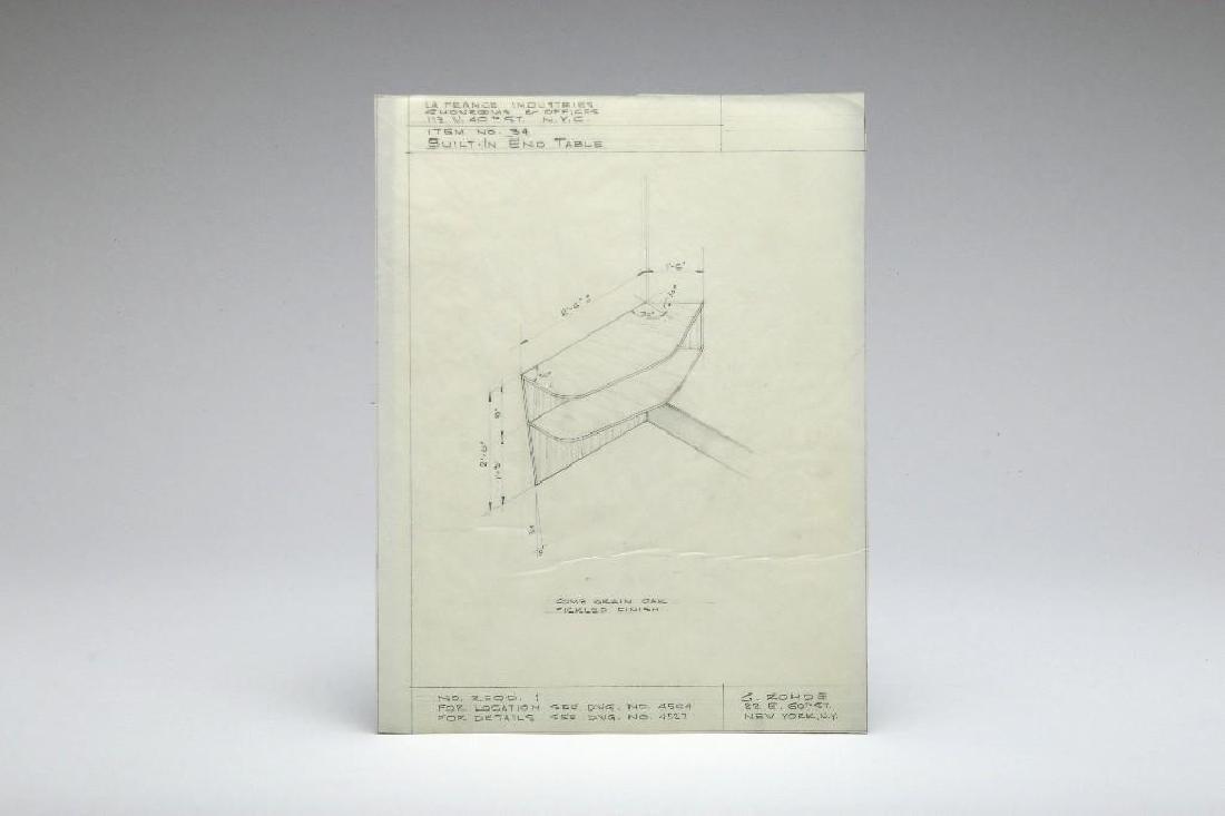Gilbert Rohde Original Technical Drawing La France End