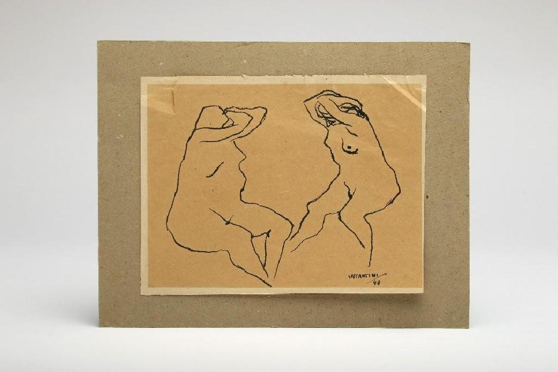 Italian Ink Drawing Two Female Nudes Signed 1946