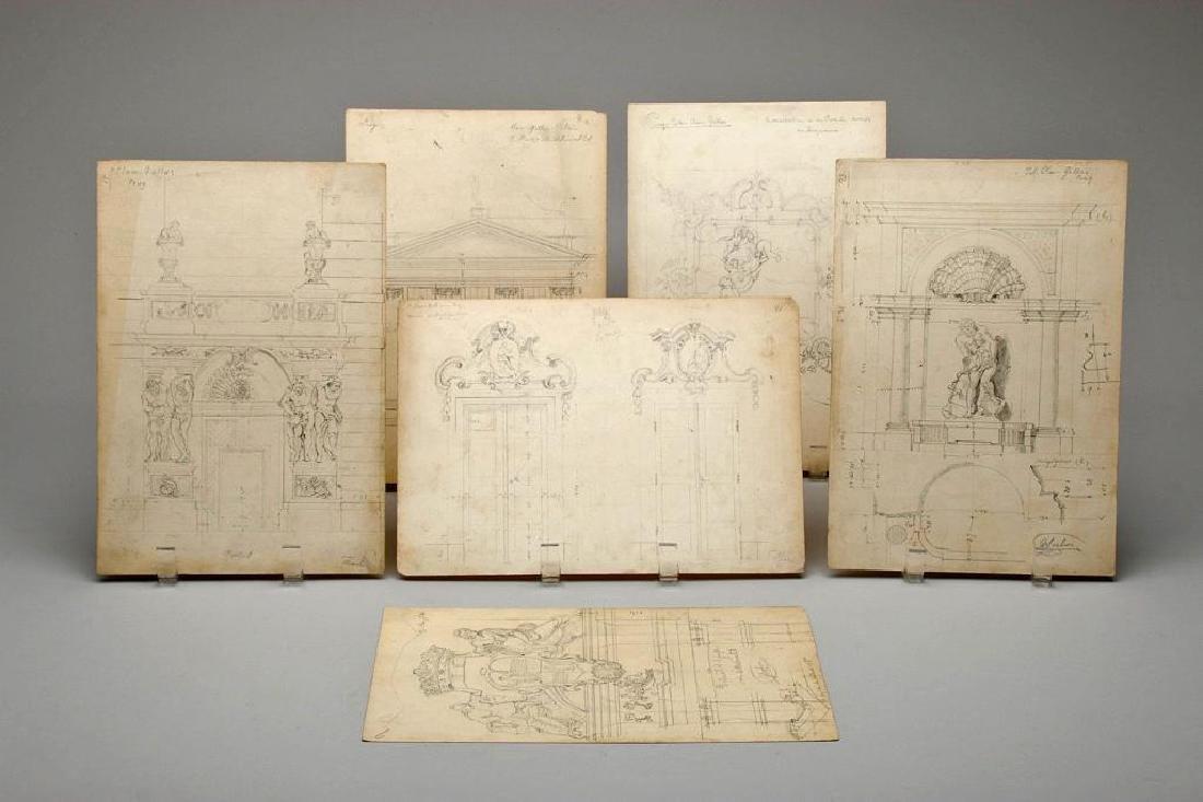 Group Original Pencil Sketch Architectural Palace