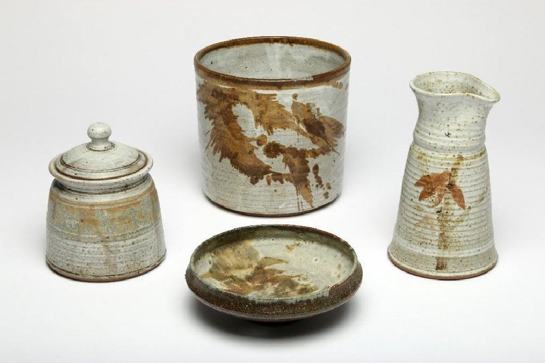 Group of Four Organic Modern Studio Art Pottery Vessels