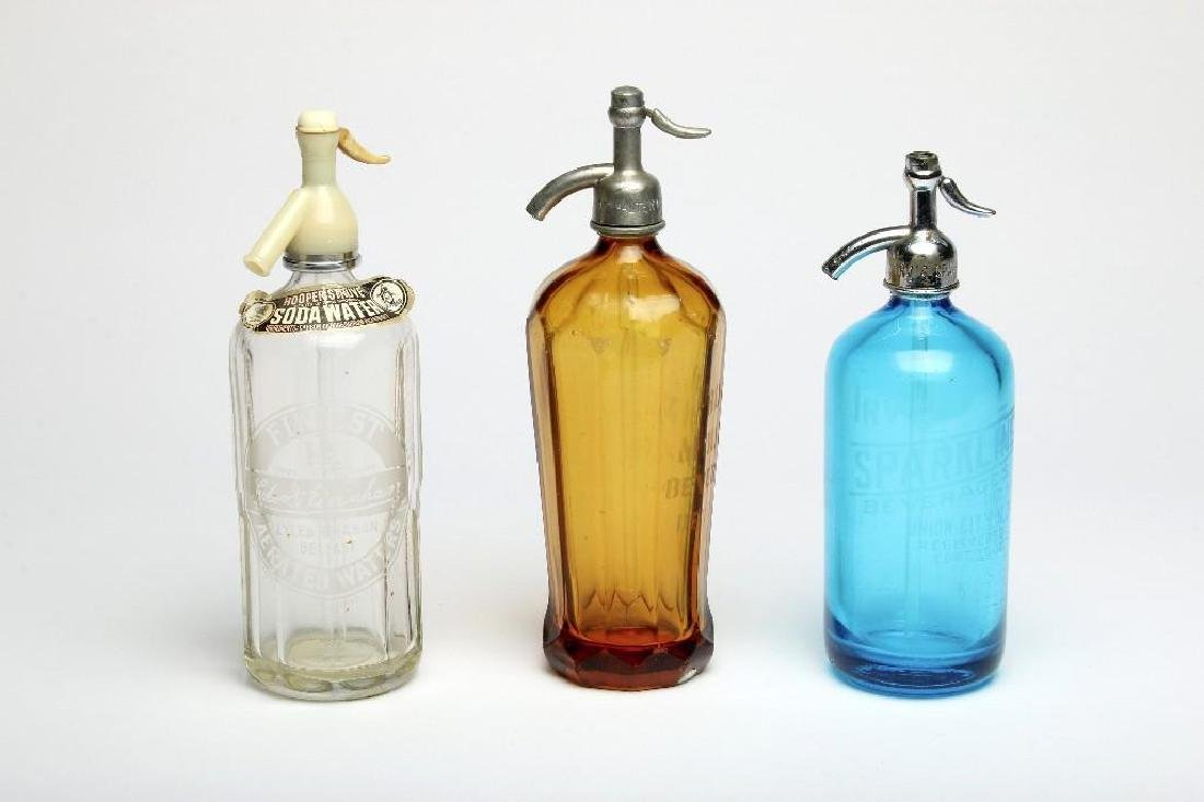 Group Three Etched Colored Glass Seltzer Bottle Barware