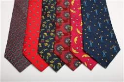 Group of 6 Vintage HERMES Mens Silk Neck Ties Whimsical