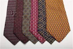 Group of 6 Vintage HERMES Mens Silk Neck Ties Geometric