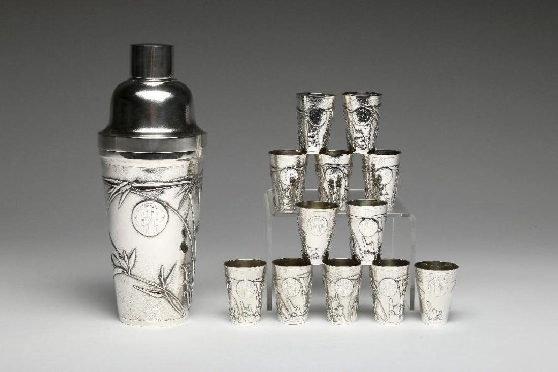Vintage Chinese Export Sterling Bar Cocktail Shaker Set