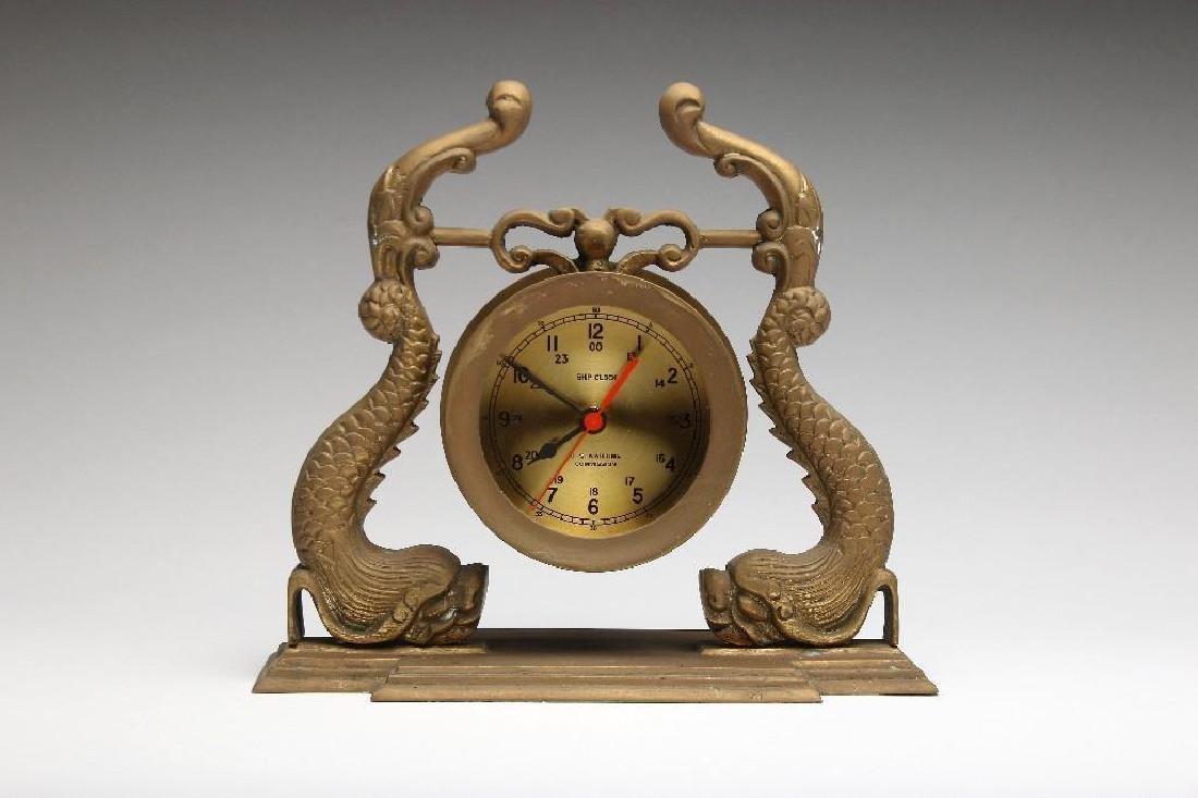 Vintage Navy Brass Dolphin Case Ship Clock US Maritime