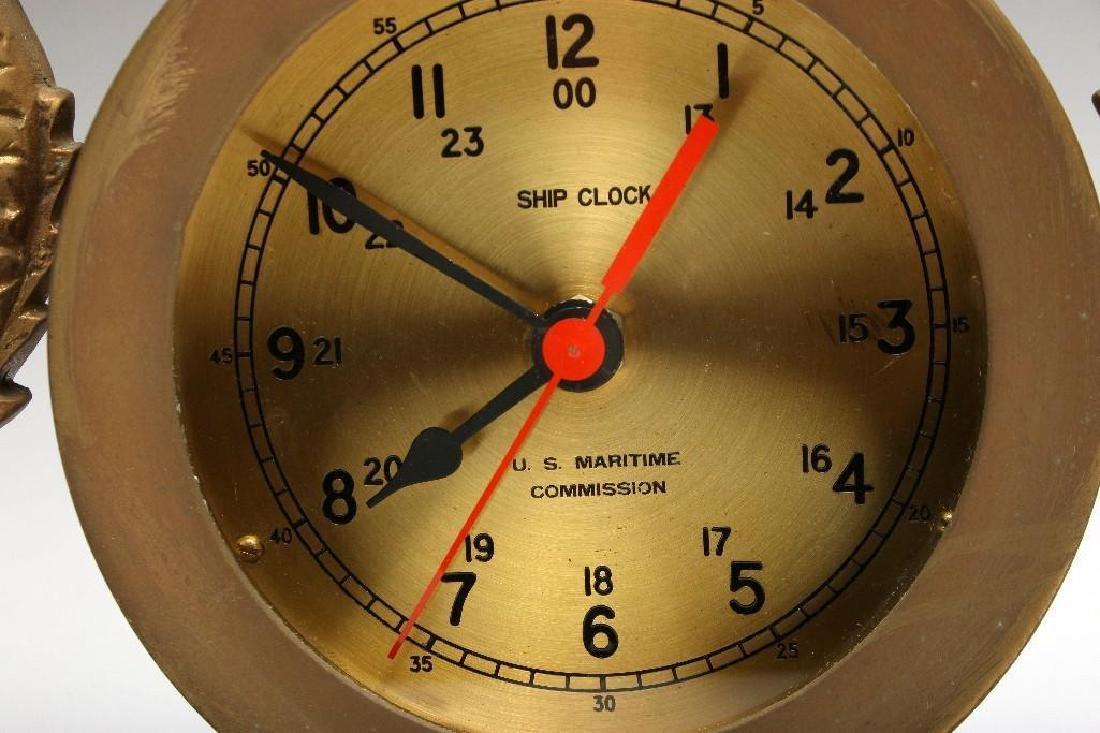 Vintage Navy Brass Dolphin Case Ship Clock US Maritime - 2