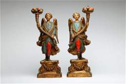 Pair Polychrome Angel Figural Candleabrum