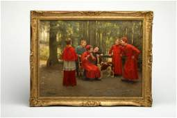 Charles Bertrand D'Entraygues Oil Canvas Choir Boys Dog