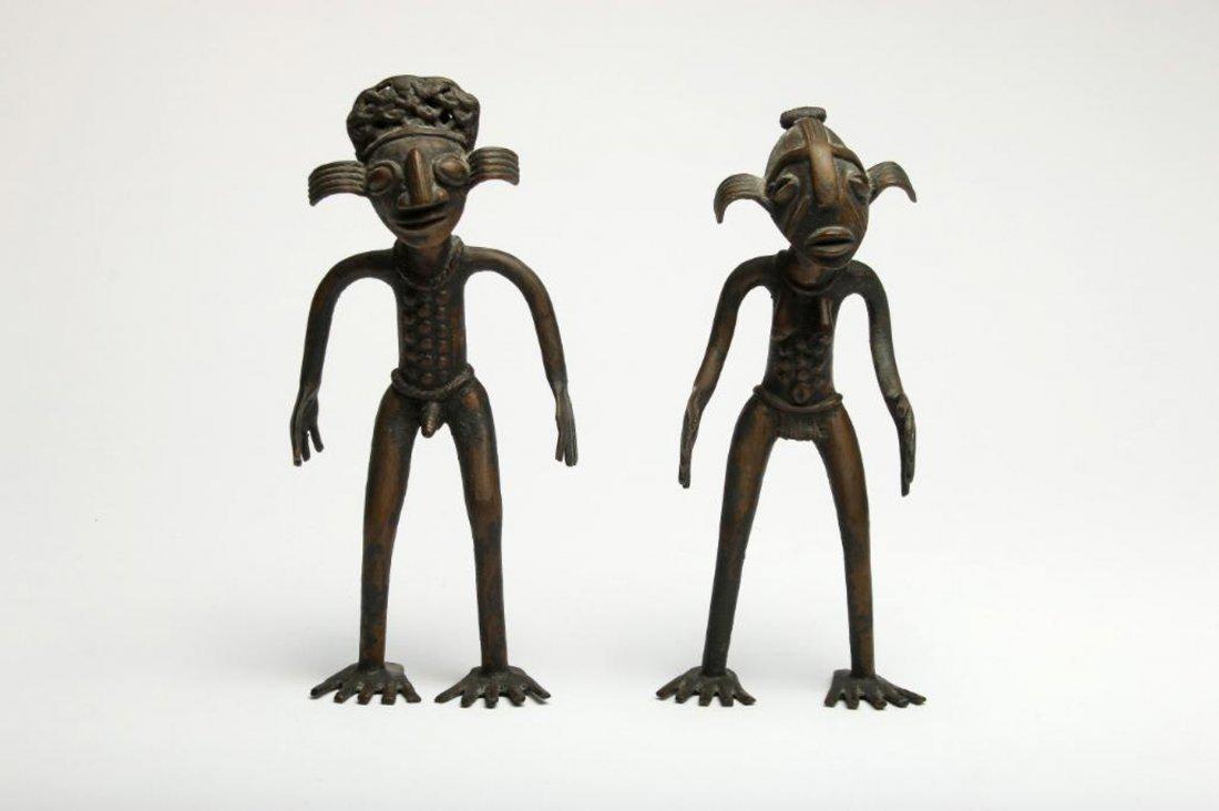 Pair of African Bronze Cameroon Figures Attribute Tikar