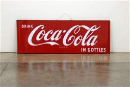 Coca Cola Sled Curved Edge Large Metal Advertising Sign