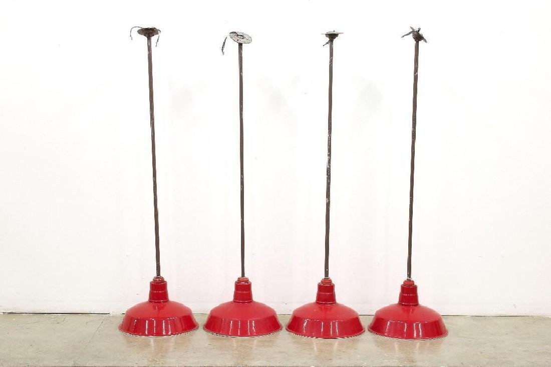 Four (4) Porcelain Red Gas Station Ceiling Lamps
