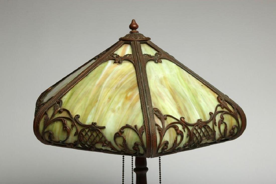 Handel Metal & Green Slag Glass Table Lamp - 2