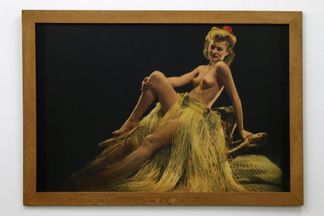Large Tinted Hawaiiana Topless Woman Photographic Print