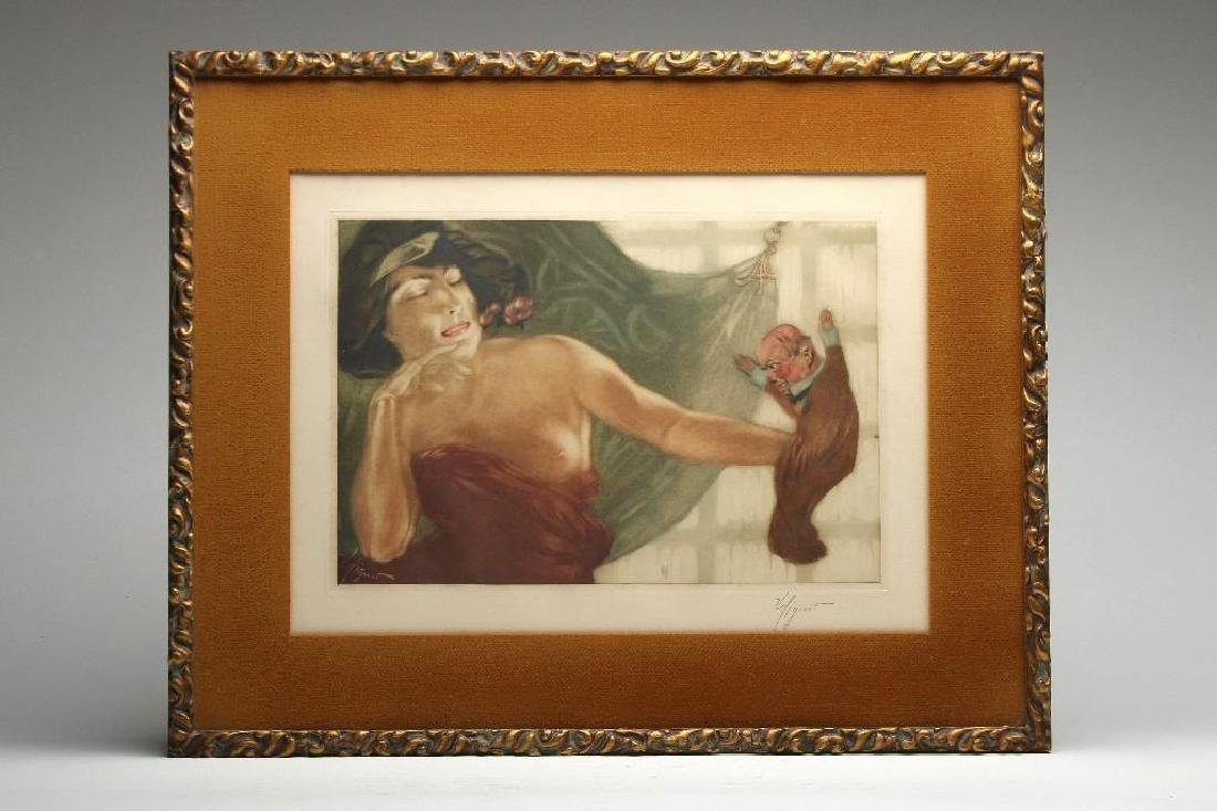 Victor MIgnot Woman And Puppet Color Etching On Paper